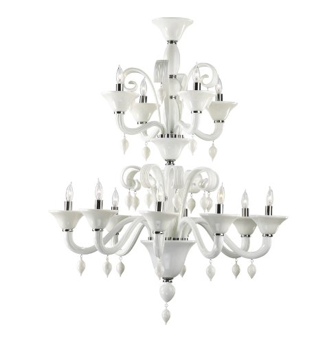 Kathy Kuo Home Treviso 12 Light Opaque White 2 Tier Murano Glass Style Chandelier