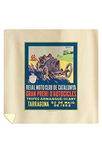 Reial Moto Club de Catalunya - Tarragona Vintage Poster (artist: Garcia) Spain c. 1923 (88x88 Queen Microfiber Duvet Cover) by Lantern Press