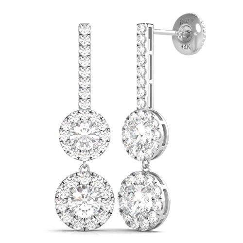r 14K Gold Diamond Dangle Halo Earrings Screw Back (2.00 Ctw IGI USA Cert GH/I1) ()