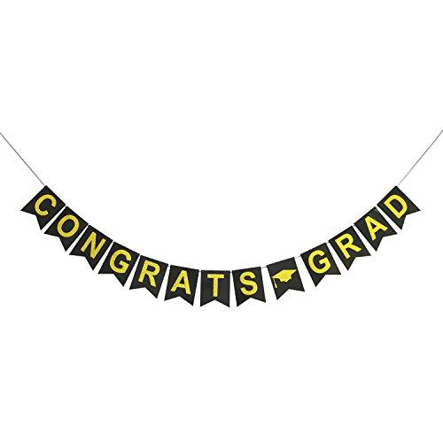 Congrats Grad Gold Glitter Banner | Graduation Party Decorations | Graduation Party Supplies 2018 | Grad Party Banner | Graduation Party Decor