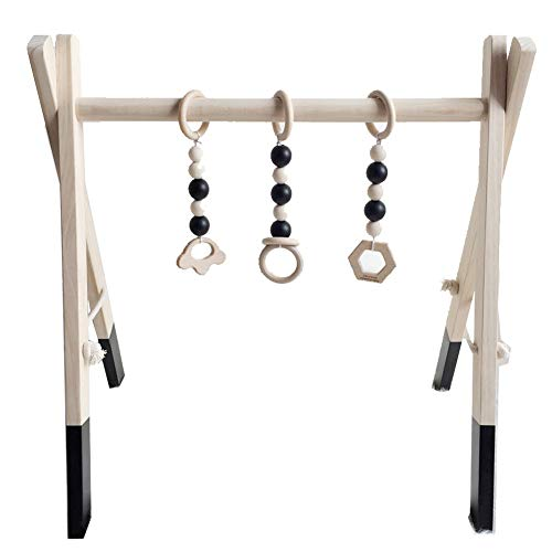 Olpchee Funny Wooden Baby Play Gym Foldable Baby Activity Gym Hanging Bar with 3 Newborn Wood Teething Toys (Black)