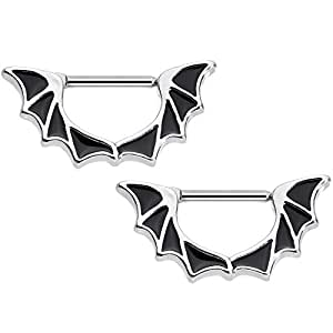 Body Candy Stainless Steel Halloween Bat Wings Nipple Clicker Set of 2 14 Gauge 1/2""