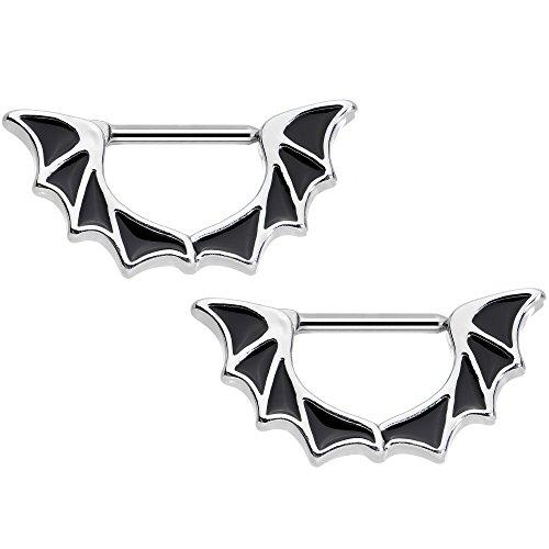 Body Candy Stainless Steel Halloween Bat Wings Nipple Clicker Set of 2 14 Gauge 1/2