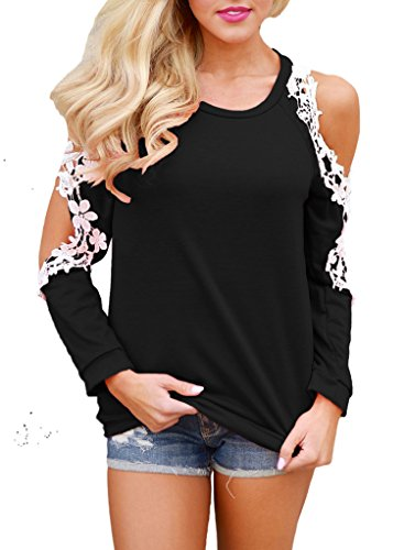 Shoulder Lace Top (Sidefeel Women Floral Lace Crochet Cold Shoulder Long Sleeve Blouse Tops X-Large Black)