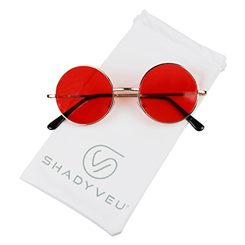 ShadyVEU - Retro Colorful Tint Lennon Style Round Groovy Hippie Wire Sunglasses (Gold Frame/Red Lens, 50)