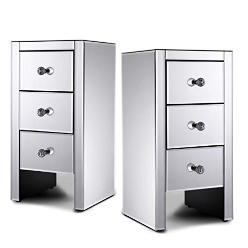 JAXPETY Set of 2 Mirrored Three Drawer Side Table End Table Nightstand Bedroom Furniture Bedside Table