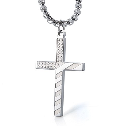 Wolentty Stainless Steel American Flag Cross Necklace Engraved Religious Philippians 4:13 Pendant with 24 Chain