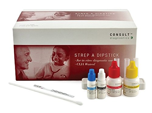 50 Test Kit (McKesson CONSULT Rapid Diagnostic Test Kit Strep A Test Throat / Tonsil Saliva Sample CLIA Waived 50 Tests)