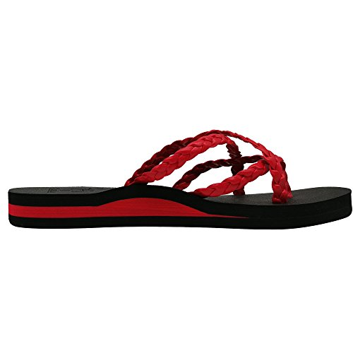 Sandalias KuaiLu para JYWT51 Rojo Tela de Mujer CSw8aS5Uq