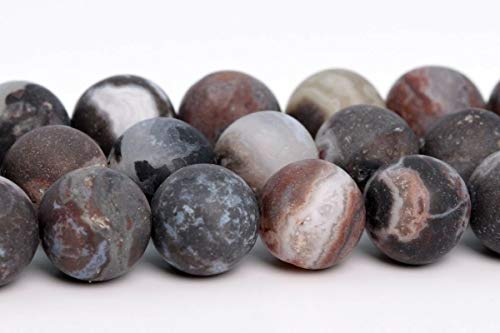 8MM Natural Matte Black Zebra Agate Beads Grade AAA Round Loose Beads 15.5