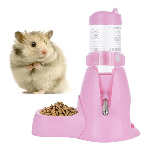 Image of 80ml Pet Water Bottle,Pet Drinking Bottle with Food Container Base Hut for Hamsters Small Animals Hanging Water Feeding Bottles Auto Dispenser (Pink)