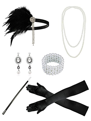 Zivyes 1920s Accessories Flapper Costume for Women Headpiece Cigarette Necklace Gloves (100A) for $<!--$17.99-->