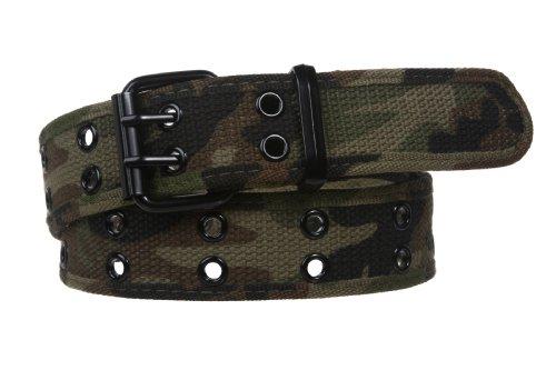 Double Hole Grommets Canvas Web Belt, Camouflage   3xl (46
