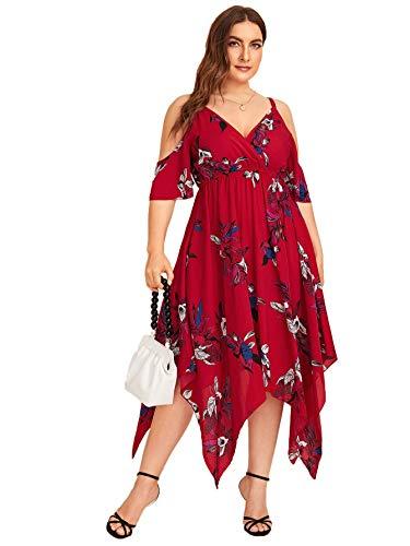 Milumia Women's Plus Size Cold Shoulder Tropical Floral Slit Summer Maxi Dress