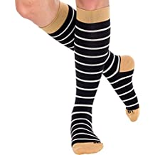Striped Compression Socks - Women's Graduated 15-25 mmHg Knee High Air Travel Support Stockings, Prevent DVT, Improve Circulation and Recovery by LISH