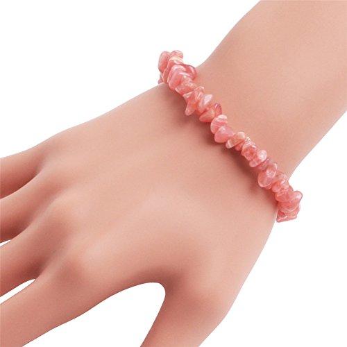 (GEM-inside Handmade Natural Gemstone Rhodonite Chip Beads Elastic Stretch Healing Reiki Fashion Bracelet For Women 7