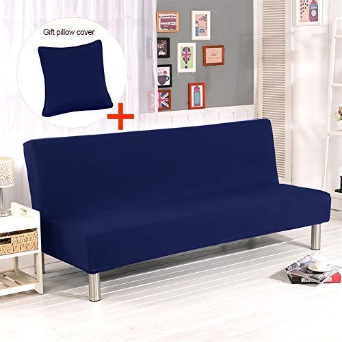 Hengwei Armless Sofa Slipcover Stretch Sofa Bed Cover Protector Elastic Spandex Modern Simple Folding Couch Sofa Shield Futon Cover (Dark Blue)