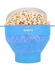 The Original Popco Silicone Microwave Popcorn Popper with Handles, Silicone Popcorn Maker, Collapsible Bowl Bpa Free and Dishwasher Safe - 15 Colors Available (Transparent Glacier Blue)
