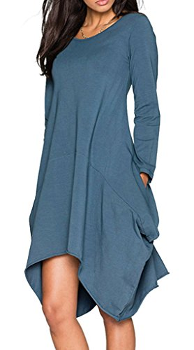 Ladylala Women's Long Sleeve Pockets Loose Casual Dress GreyBlue L