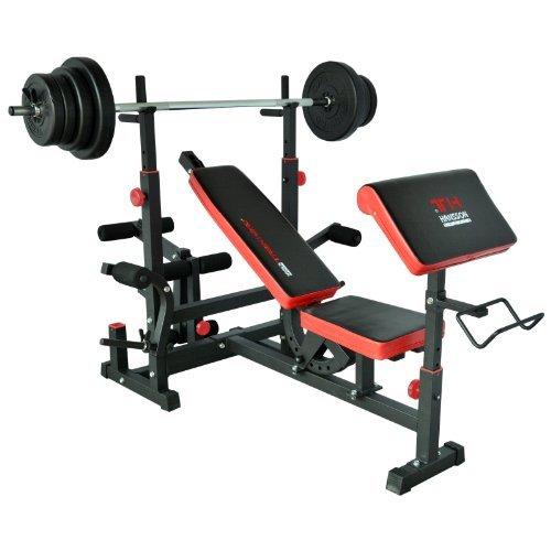 TrainHard - Banco de pesas Fuerza Station Fitness Center Negro/Rojo Con Largo de Barra y mancuernas y discos de 70 kg: Amazon.es: Deportes y aire libre