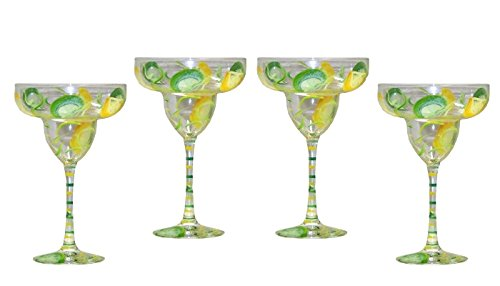 Lemon Lime Design 5-piece Margarita Set. Hand Painted by ArtisanStreet (Image #3)