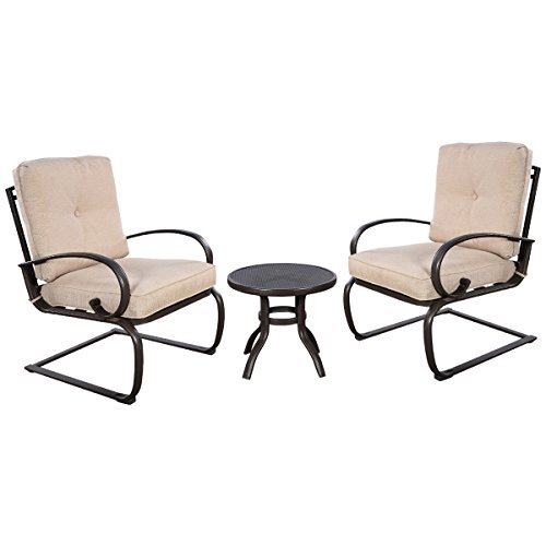 Giantex 3 Pcs Outdoor Bistro Patio Dining Set Round Table 2 Seats With Cushion Furniture
