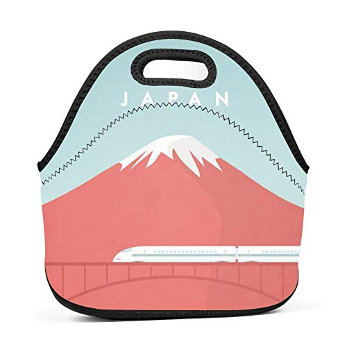 WWQE-B Beautiful Japan Mount Fuji Lunch Tote Bag Bullet Train Mount Fuji Japan