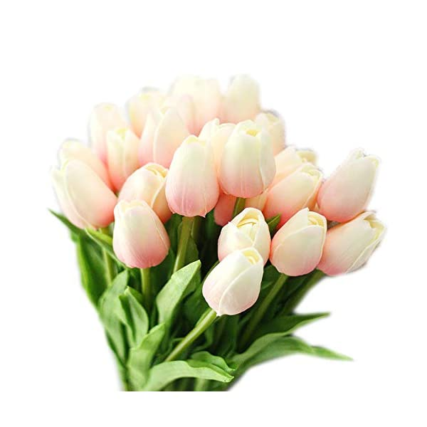 """cn-Knight Artificial Flower 30pcs 13"""" Faux Tulip Real Touch PU Flower for Wedding Bridal Bouquet Bridesmaid Home Décor Office Hotel Baby Shower Prom Centerpiece Door Wreath(Light Pink Gradient)"""