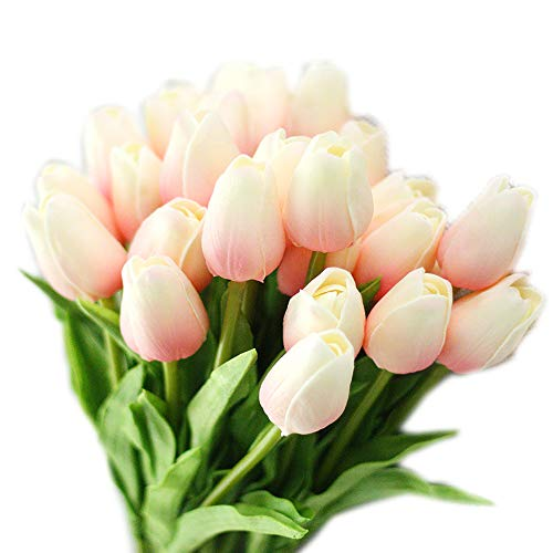 cn-Knight Artificial Flower 30pcs 13'' Faux Tulip Real Touch PU Flower for Wedding Bridal Bouquet Bridesmaid Home Décor Office Hotel Baby Shower Prom Centerpiece Door Wreath(Light Pink Gradient)