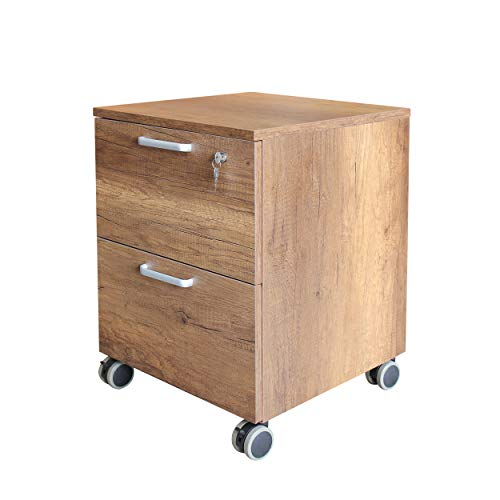 Caesar Hardware 2-Drawer Wood Mobile File Cabinet with with Lock and Wheels, Legal/Letter Size, Dark Maple