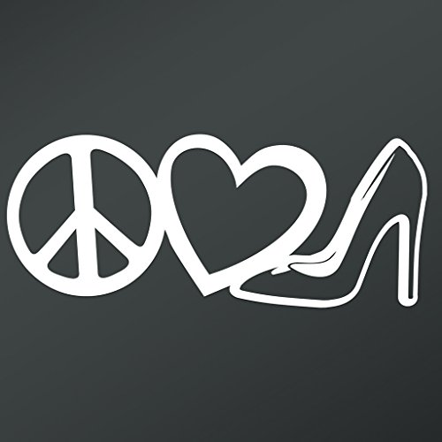 Peace Love High Heels Vinyl Decal Sticker | Cars Trucks Vans Walls Laptops Cups | White | 7.5 X 3.1 Inch | KCD1678