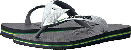 Havaianas Women's Brazil Mix Sandal Flip Flop, Black/White, 37 BR/7/8 W - Havaianas Black Brazil