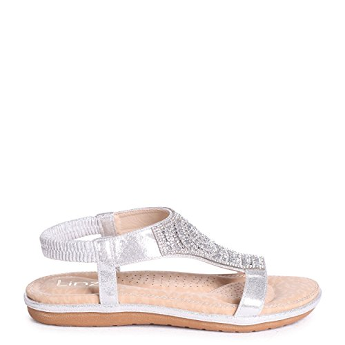 Linzi May - Silver Diamante Embellished Sandal with Memory Foam Inner Silver