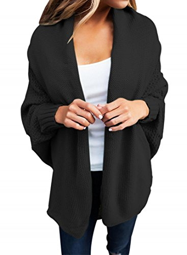 Cocoon Sweater Coat - Women's Casual Long Dolman Sleeve Draped Open Front Cozy Loose Knit Cardigan Sweaters Oversized Outwear Coat Black L 12 14