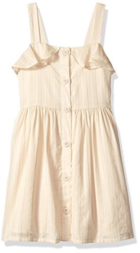 Snap Beige Stripes (Gymboree Baby Girls Sleeveless Casual Woven Dress, Beige Button Embroidered Stripe, 2T)