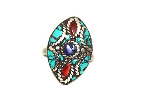 (Coral Turquoise Lapis Ring, Tibetan Ring, Nepal Ring, Gypsy Ring, Boho Ring (8.25))