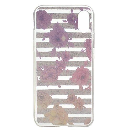 iPhone X Hülle , Leiai Farbe Blume TPU Transparent Weich Tasche Schutzhülle Silikon Handyhülle Stoßdämpfende Clear Schale Fall Case Shell für Apple iPhone X