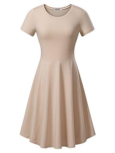 HUHOT Women Short Sleeve Round Neck Summer Casual Flared Midi Dress (Large, -