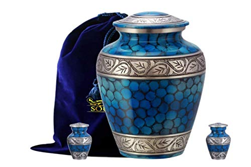 SOULURNS® - Classic and Beautiful Blue Adult Cremation Urn for Human Ashes with 2 Keepsake Urns Large with a Warm, Comforting Classy Finish to Remember Your Loved One Forever- Includes Velvet Bag