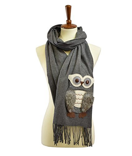Owl Scarf - Cashmere feel owl patch fuax fur scarf Charcoal 26 x 78