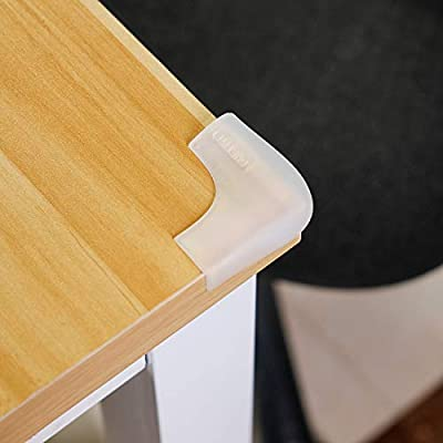 Edge Protector Basong Transparent Corner Guards 20ft Soft Silicone Double-Side Tape Durable Table Edge Guard for Furniture Edge Sharp Corner Cabinets and Baby Fireplace