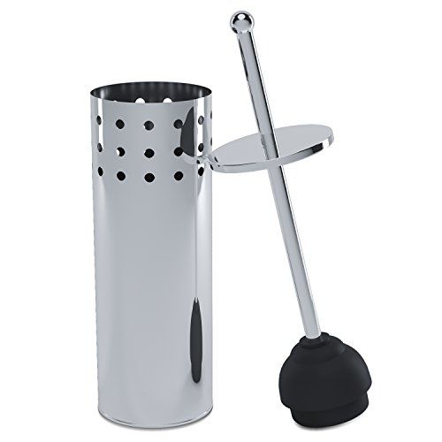 (Home Intuition Chrome Vented Toilet Plunger and Canister Holder Drip Cup, 1 Pack)