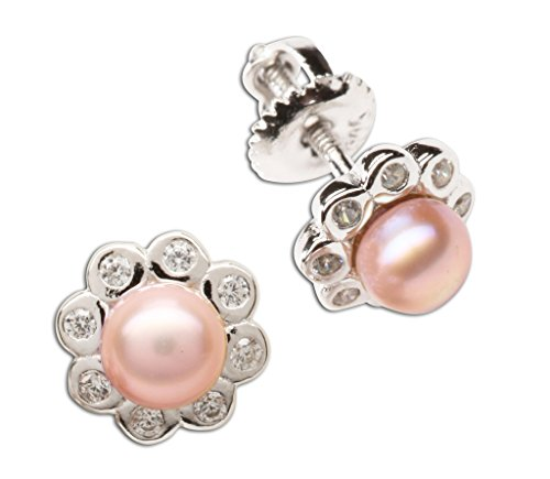 (Girl's Sterling Silver Pink Cultured Pearl Button Earring with CZs (Screw Back))