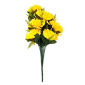 Macrorun Silk Artificial Flowers Bouquet Simulation Real Touch Flower Floral Photography Props Home Party Wedding Decoration (Yellow Chrysanthemum) 94