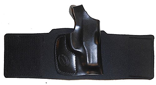 Holster Hand Black Ankle Right - GLOCK 43 Pro Carry Ankle Holster Right Hand Black Leather & Neoprene Gun Holster