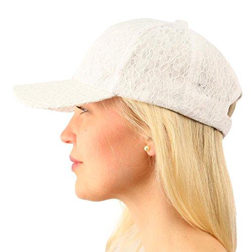 White Hat Ball (Everyday Lace Light Plain Blank Baseball Sun Visor Solid Ball Cap Dad Hat White)
