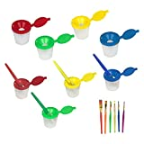 10 PCS No Spill Paint Cups with Colored Lids and Brushes with Wood Handles Set