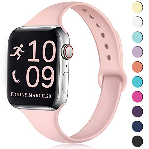 Zekapu Sport Band Compatible for Apple Watch 38mm 40mm, Soft Silicone Narrow Slim Sport Replacement Wristband for iWatch Series 4, Series 3, Series 2, Series 1 Women, Pink