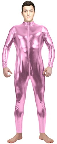 [VSVO Adult Pink Shiny Metallic Front Zipper Long-Sleeve Unitard (Large, Pink)] (Latex Wolf Suit)