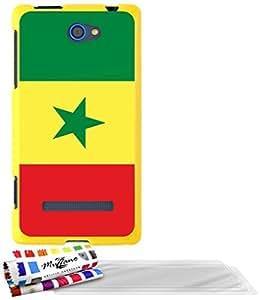 """Carcasa Flexible Ultra-Slim HTC 8S de exclusivo motivo [Bandera Senegal] [Amarillo] de MUZZANO  + 3 Pelliculas de Pantalla """"UltraClear"""" + ESTILETE y PAÑO MUZZANO REGALADOS - La Protección Antigolpes ULTIMA, ELEGANTE Y DURADERA para su HTC 8S"""